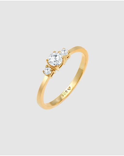 Elli Jewelry Ring Engagement With Zirconia Crystals In 925 Sterling Silver Gold Plated White