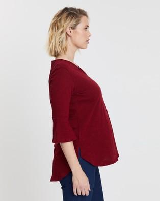 Angel Maternity Maternity Half Sleeve Zipper Front Nursing Work Top - Tops (Red)