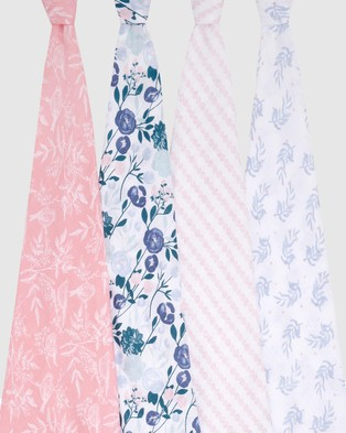 Aden & Anais Essentials 4 Pack Swaddles Wraps Blankets Flowers Bloom 4-Pack