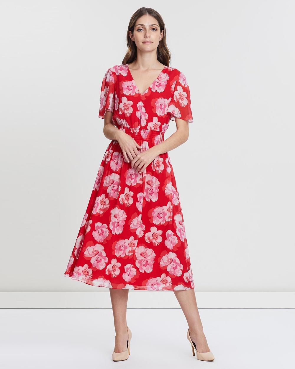 David Lawrence RED MULTI Flutter Sleeve Peony Print Dress
