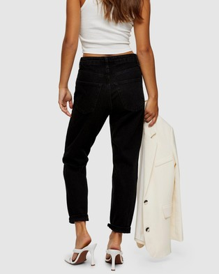 TOPSHOP Petite Mom Tapered Jeans - High-Waisted (Nearly Black)