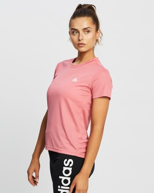 adidas Performance - AEROREADY Designed 2 Move Sport Tee Short Sleeve T-Shirts (Hazy Rose & White)