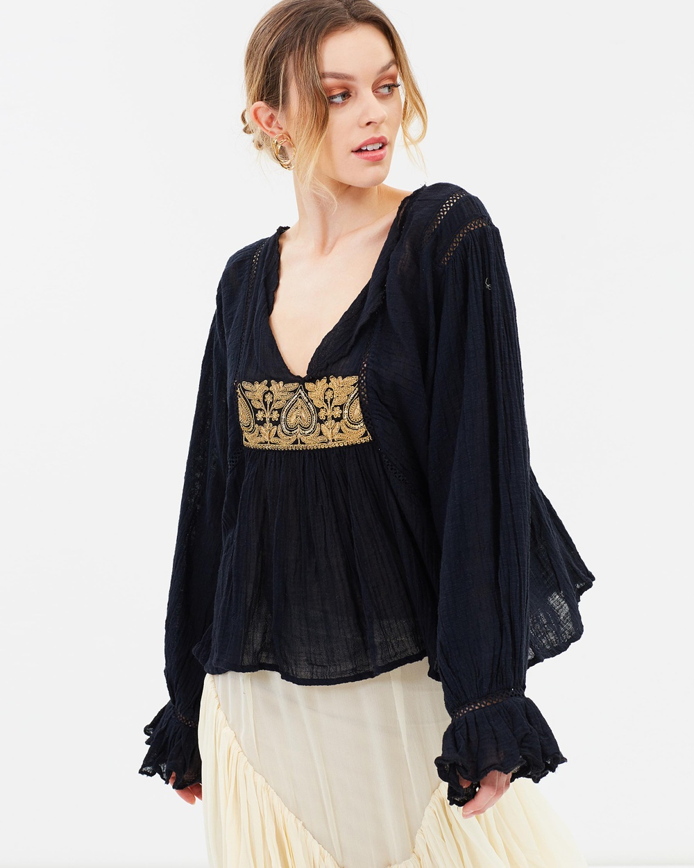 KINGA CSILLA Jasmine Embellished Shirt Tops Black Jasmine Embellished Shirt