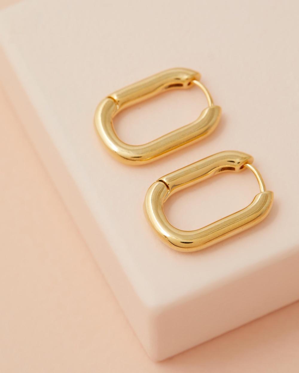 Orelia London Chunky Oval Hoops Jewellery Gold