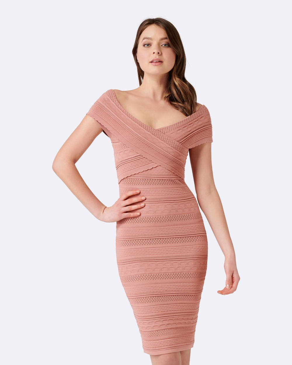 Forever New Koko Cross Front Bardot Dress Bridesmaid Dresses Baked Pink Koko Cross Front Bardot Dress