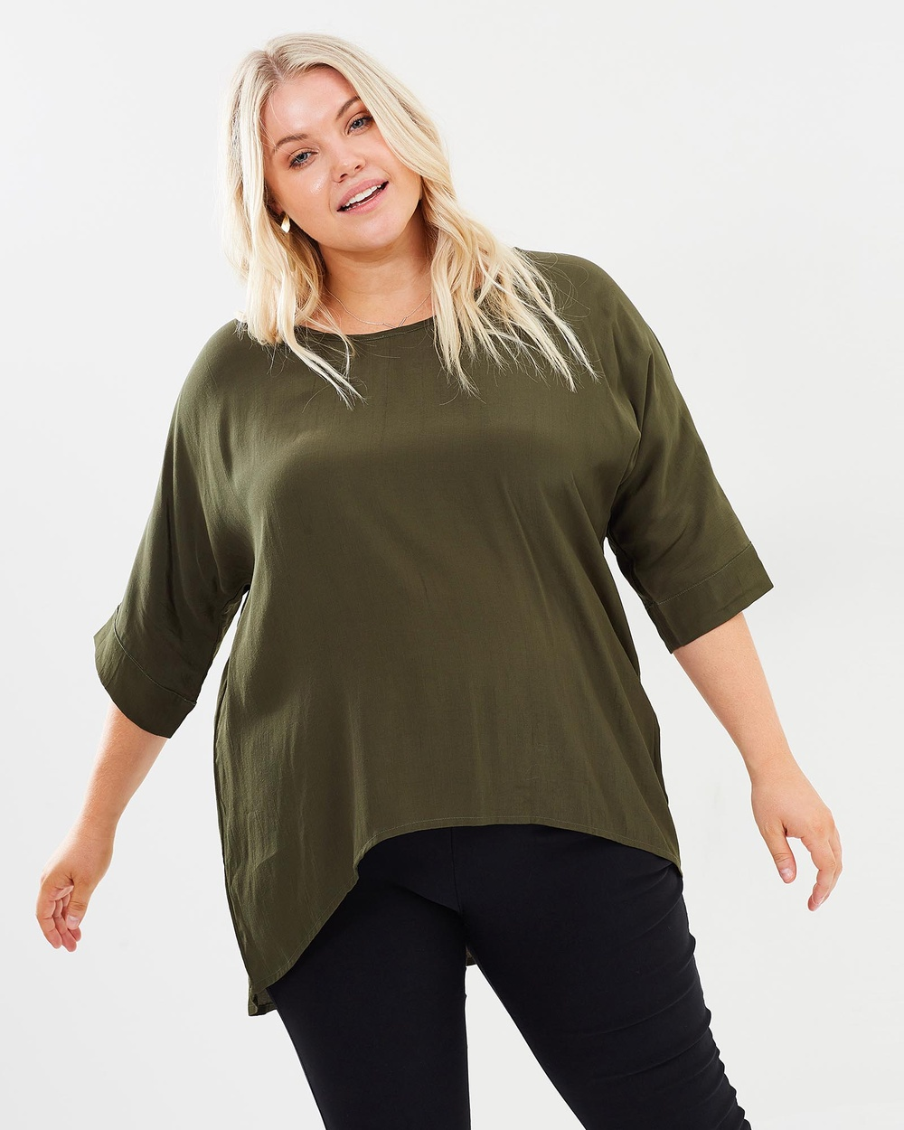 Adrift Calie Top Tops Khaki Calie Top