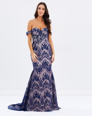 Bariano – Theresa Lace Fishtail Gown – Bridesmaid Dresses (Navy Nude)