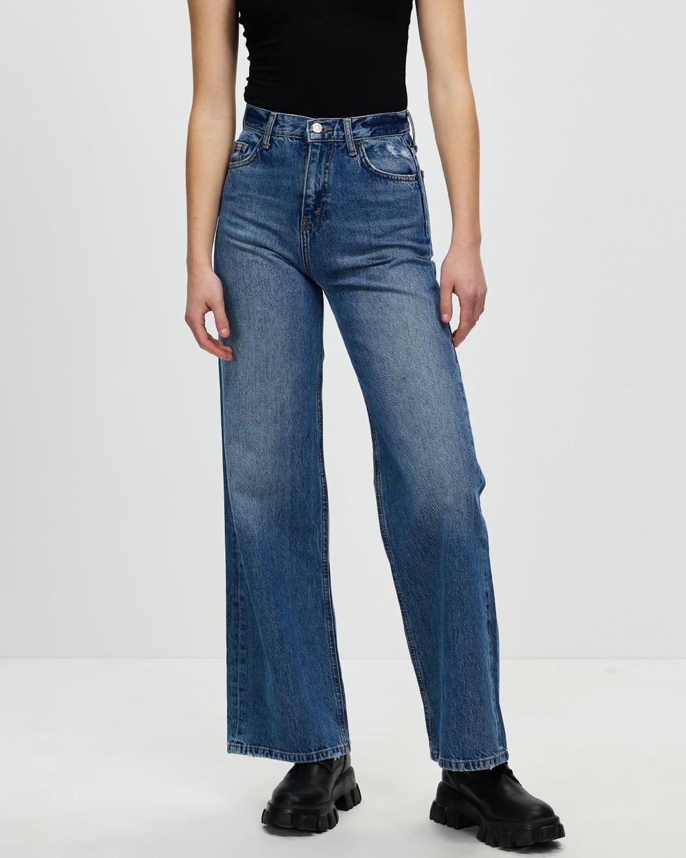 TOPSHOP High Waisted Wide Leg Jeans High-Waisted Mid Denim Australia