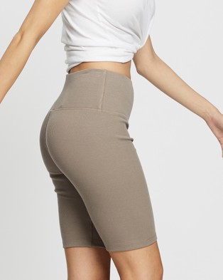 Elka Collective Racer Ribbed Shorts - High-Waisted (Taupe)