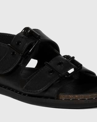 Wittner Fizz Leather Double Buckle Sandals - Sandals (Black)