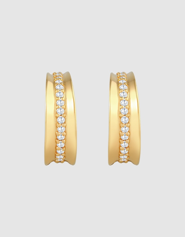 Women Earrings Creoles Elegant with Zirconia Crystals in 925 Sterling Silver Gold Plated