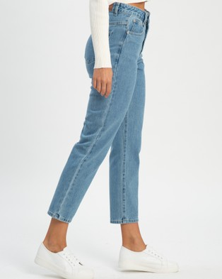 Calli Luna Relaxed Jeans - High-Waisted (Classic Blue)