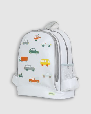 Bobbleart Large Backpack Lunch Bag Bento Box and Drink Bottle Traffic - Backpacks (Light Blue)