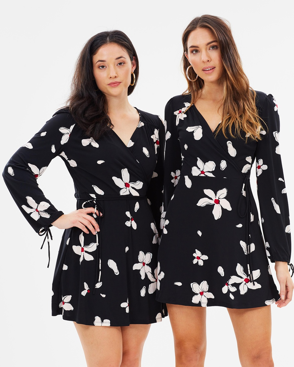 M.N.G Floral Wrap Front Long Sleeve Dress Printed Dresses Rosa Floral Wrap Front Long Sleeve Dress