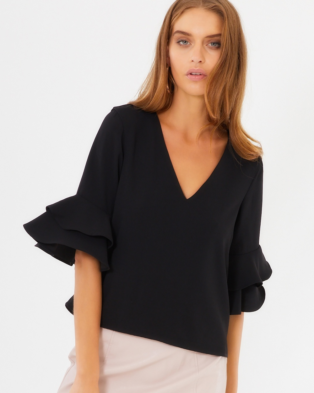Tussah Hattie Frill Sleeve Top Tops Black Hattie Frill Sleeve Top