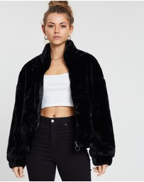 Cotton On - Batwing Faux Fur Jacket
