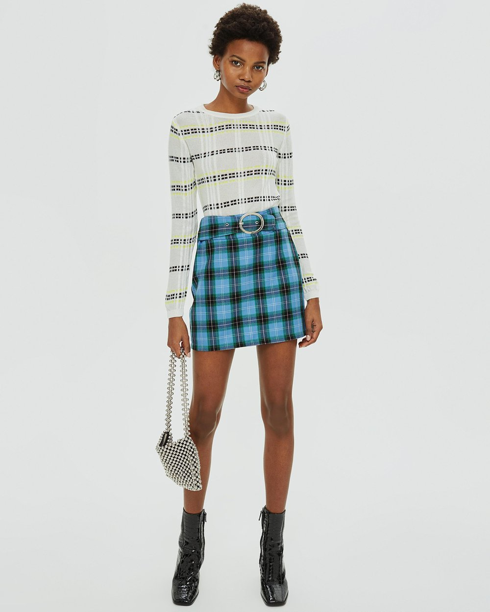 fd4f9b7822 Circle Buckle Check Mini Skirt by TOPSHOP Online | THE ICONIC | Australia