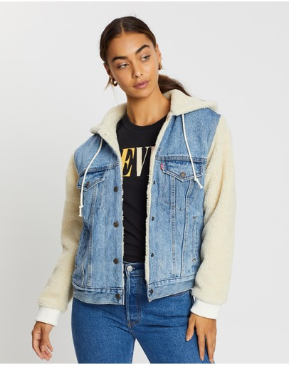 Levi's Ex Boyfriend Sherpa Sleeve Trucker Jacket Hidden River