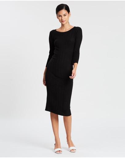 Lune Resort Sleepin Knit Midi Dress Black