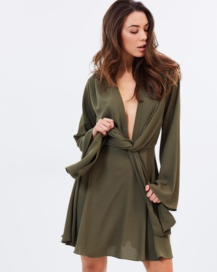 Atmos & Here – Beverley Plunge Dress Khaki