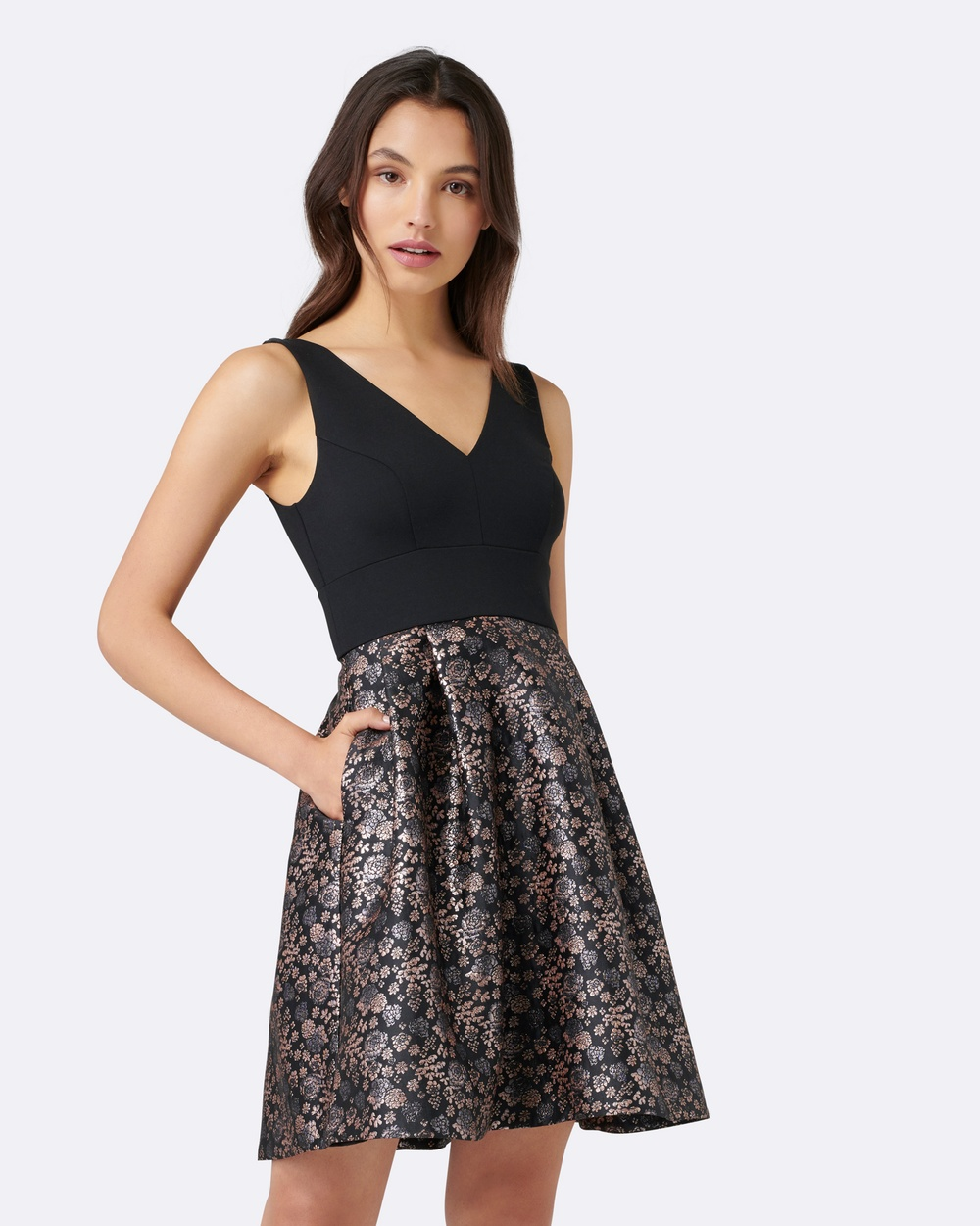 Forever New Bonnie Jacquard 2 in 1 Prom Bridesmaid Dresses Black Bonnie Jacquard 2-in-1 Prom