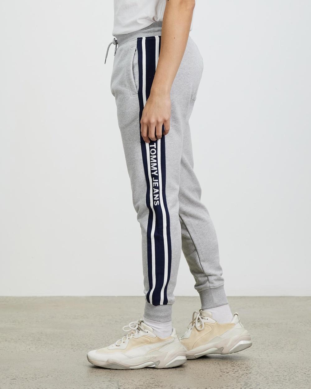 Tommy Jeans Organic Cotton Slim Fit Stripe Joggers Sweatpants Light Grey Heather Australia