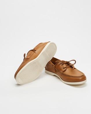 Double Oak Mills Harbourside Leather Deck Shoes - Casual Shoes (Tan)