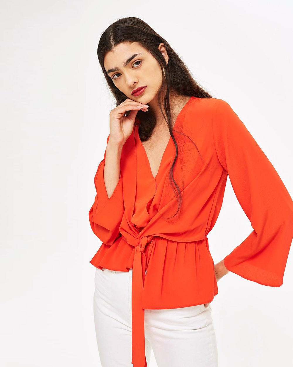 TOPSHOP Knot Front Asymmetric Blouse Tops Red Knot Front Asymmetric Blouse