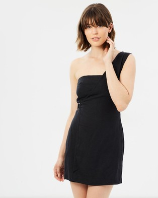 Third Form – The Catch Linen One Shoulder Dress Black