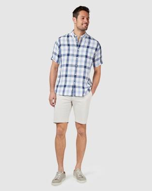 Blazer Theo Short Sleeve Check Shirt - Shirts & Polos (Blue)