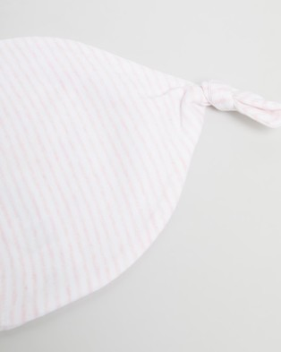 Purebaby Knot Hat - Headwear (Pale Pink Melange Stripe)