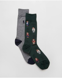 Polo Ralph Lauren - Bear Quad Crew 2-Pack Cotton Socks