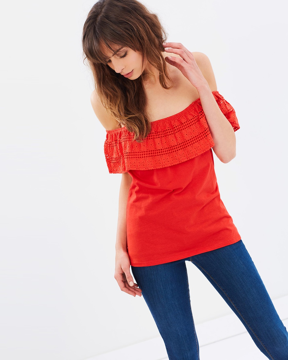 Dorothy Perkins Lace Ruffle Bardot Top Tops Red Lace Ruffle Bardot Top