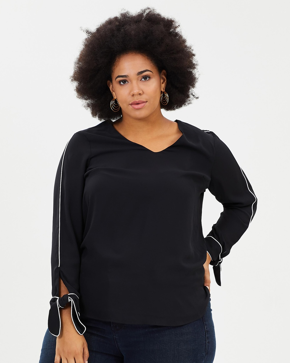 Rebel Wilson x Angels Piped Blouse With Cuff Details Tops Black Piped Blouse With Cuff Details