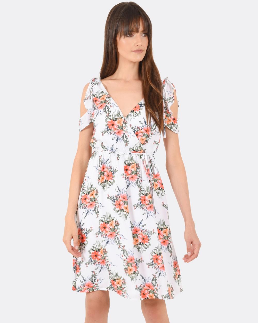 Forcast Milania Frill Wrap Dress Dresses Ivory Milania Frill Wrap Dress