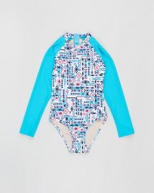 Aqua Blu Kids Inca Long Sleeve One Piece   Teens - One-Piece / Swimsuit (Inca)