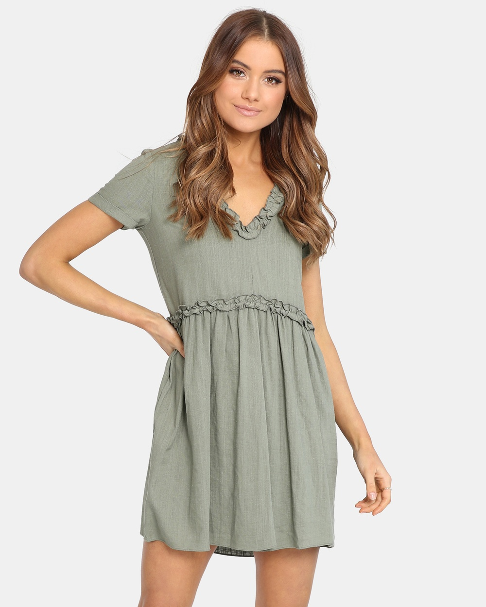 Madison Square Alaska Babydoll Dress Dresses Khaki Alaska Babydoll Dress