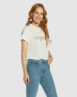 Apero Label - Marble Embroidered Femme Tee Short Sleeve T-Shirts (White)