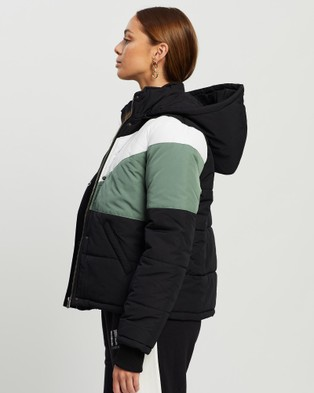 All About Eve - Phoenix Panel Puffer Coats & Jackets (Black, White Green )