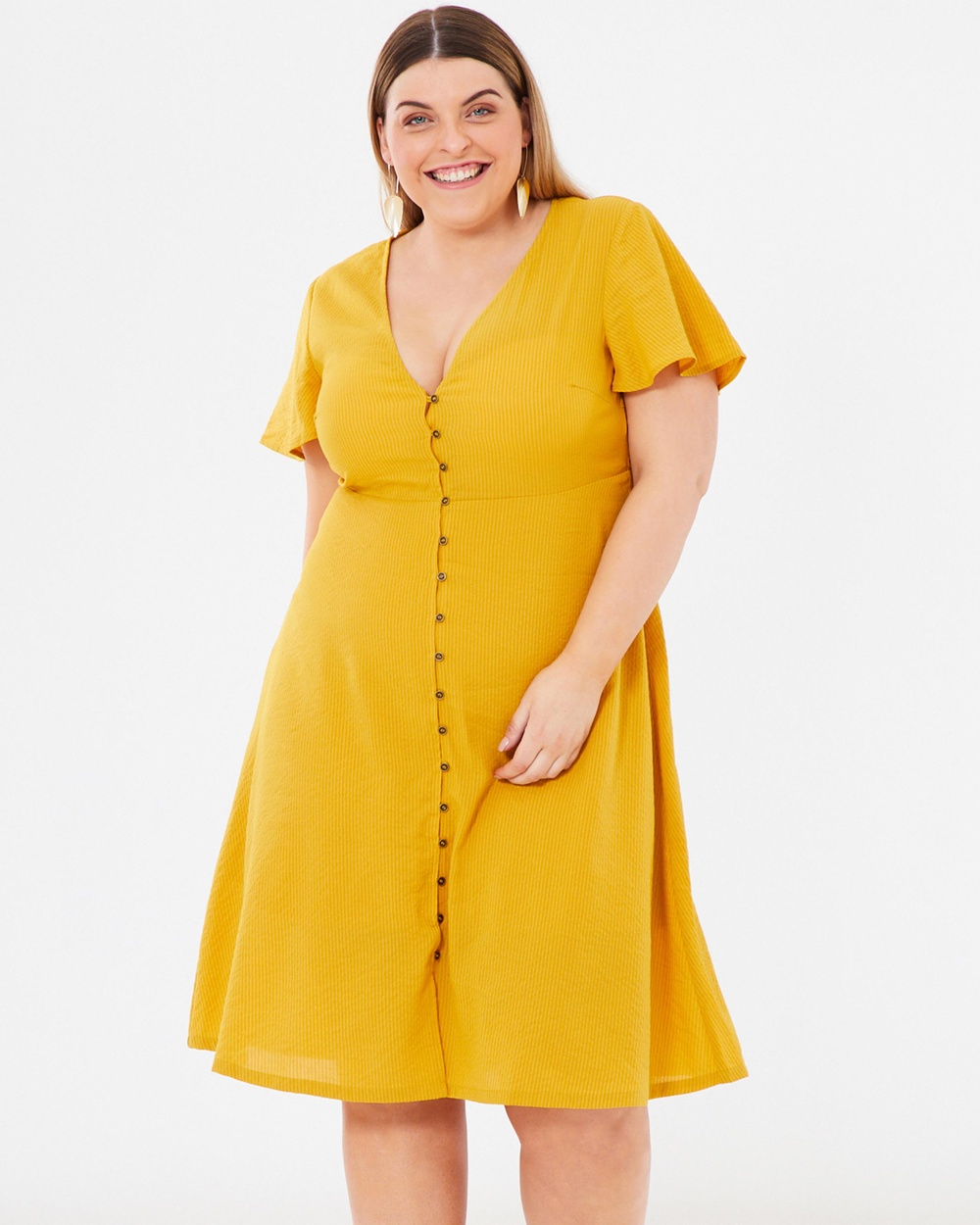 Atmos & Here Curvy Yellow ICONIC EXCLUSIVE – Melody Button-Through Midi Dress