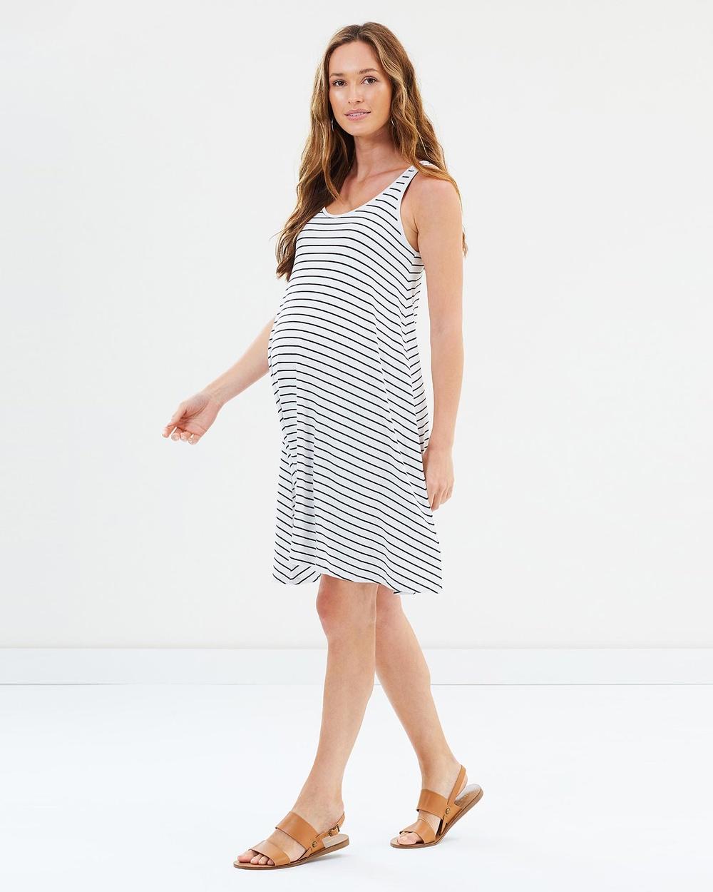 Bamboo Body Swing Dress Dresses White & Black Stripe Swing Dress