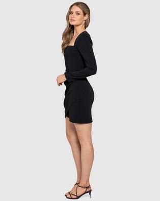 Forever New Cara Long Sleeve Mini Dress - Bridesmaid Dresses (Black)