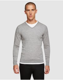 Oxford - V-neck Pure Merino Wool Pullover
