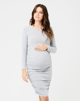 Ripe Maternity – Textured Knit Cocoon Dress Gey