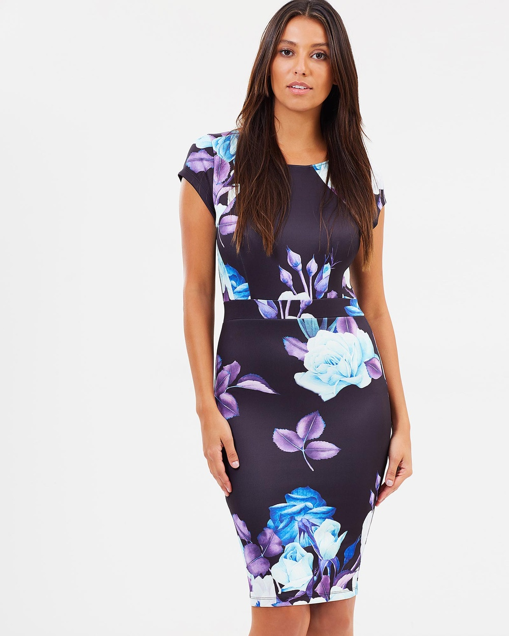 SKIVA Print Cap Sleeve Dress Printed Dresses Black Print Cap Sleeve Dress