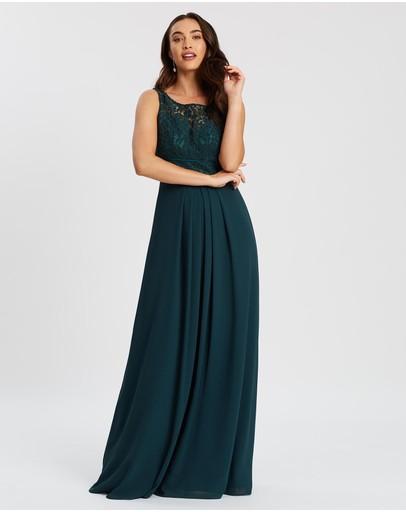 Alabaster The Label Lace Bateau Dress Teal Green