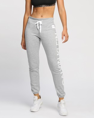 Calvin Klein Performance Logo Elastic Cuff Sweatpants - Sweatpants (Pearl Grey & Heather White)