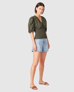 French Connection Cotton Textured Wrap Top - Tops (OLIVE)
