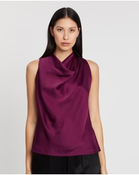REISS - Laura Bow Detail Satin Top