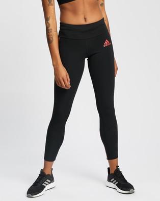adidas Performance - Own The Run Primeblue Running Tights Full (Black & Scarlet)